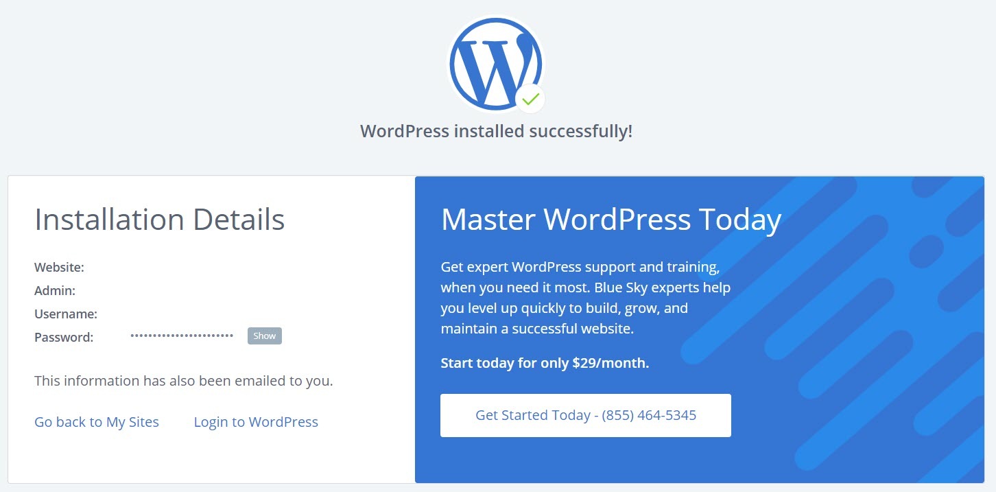 Bluehost WordPress Installed